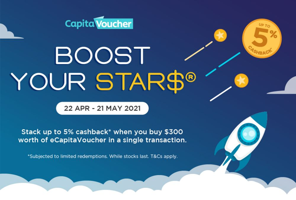 Earn 5% Cashback* with purchase of $300 eCapitaVoucher