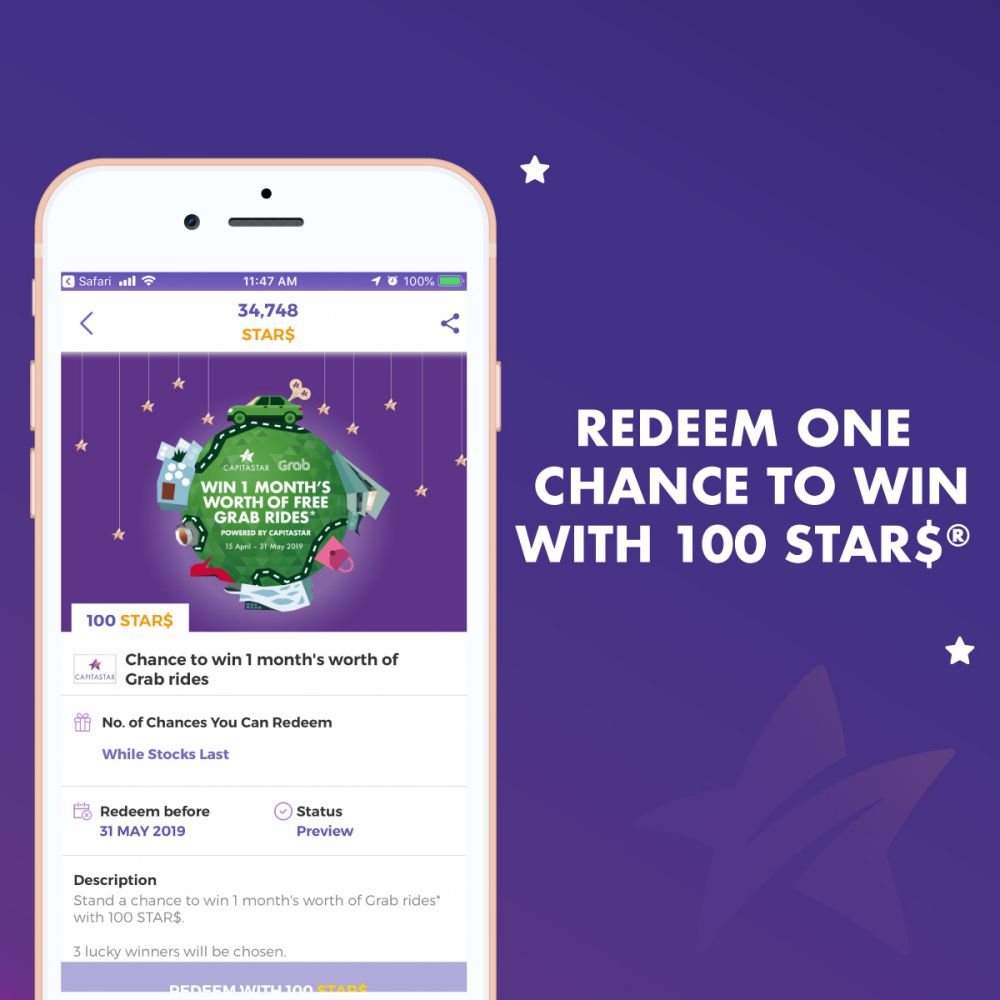 Win a month's worth of free Grab rides   CapitaStar